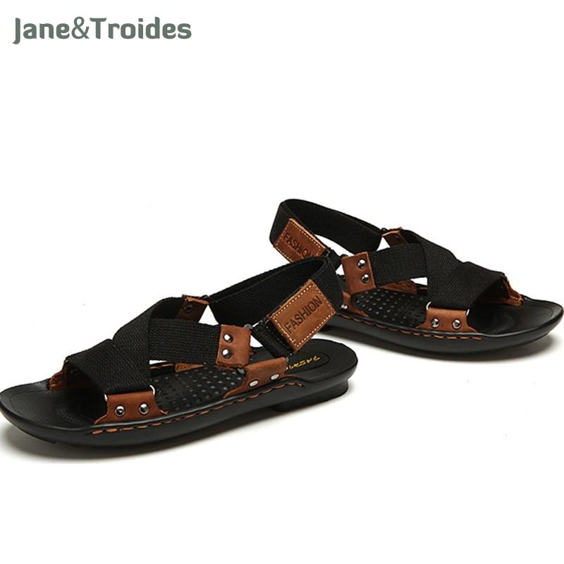Summer Beach Shoes Men Sandals 2018 Designers Sandals Men Brand Leather Slippers For Men Zapatos Sandalias Hombre