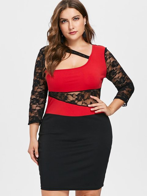 Wipalo Autumn Plus Size 5XL Lace Sleeve Cut Out Bodycon Dress Sexy Skew  Collar See- 6c0f009ad5ef