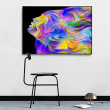 CHENFART Colorful Woman Hair Abstract Wall Art Oil Painting Canvas Pictures for Living Room Poster Modern Paintings Home Decor