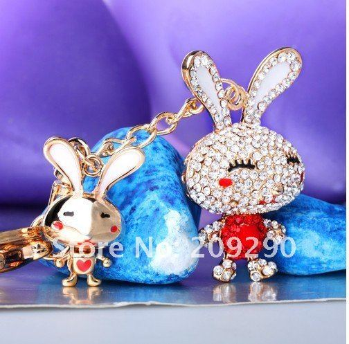 New Arrival Fashion Womens Crystal key Chain Lovely Long Ear Rabbit Diamond Bag Hanging Sweet Car keyring Pendant Free shipping