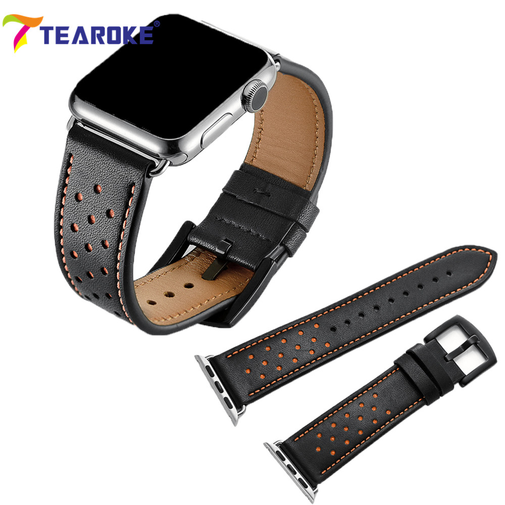 TEAROKE Crazy Horse Leather Watchband For Apple Watch 38mm 42mm Black Fashion Replacement Watch Band Strap for iwatch Series 1 2 цена и фото