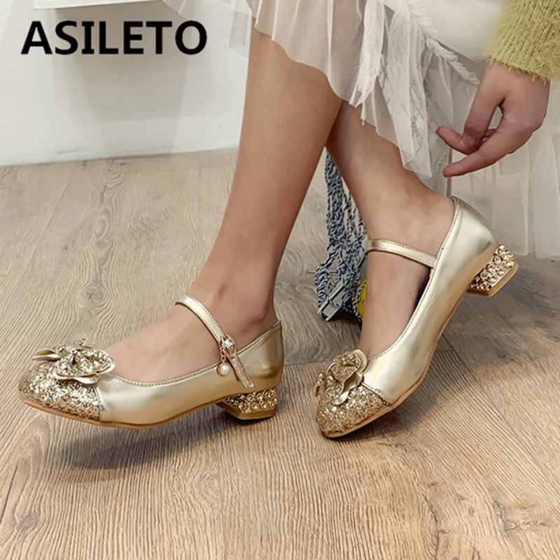 Asileto Big Size 43 Ballerina Flats Girls Flat Shoes Sequined Bows