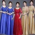 2017 Новый Элегантный О-Образным Вырезом Линии Длиной до пола Половина Рукава Золото Невесты Платья Длинные Плюс Размер