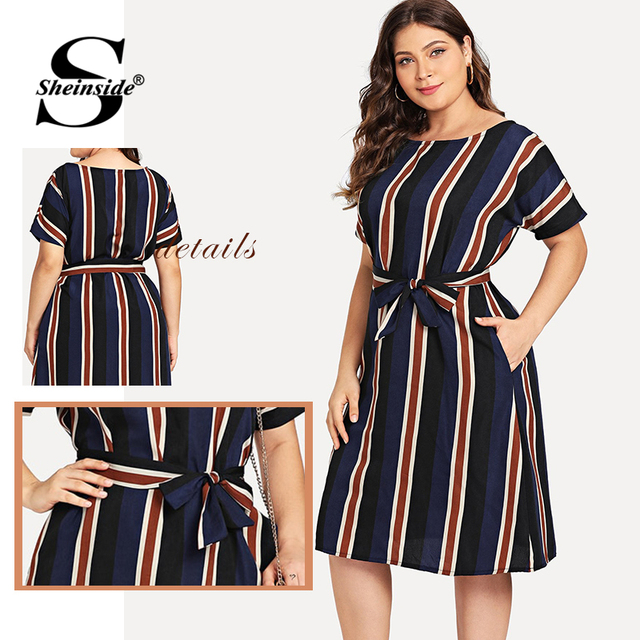 Sheinside Plus Size Colorblock Belt Striped Dress Women A Line Short Sleeve Summer Dresses 2019 Ladies Casual Flared Midi Dress 4