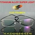 = = Genuíno marca titanium 2g!! super leve Quadro Vidros Ópticos Sem Aro Ultra Leve Óculos de Leitura + 1 + 1.5 + 2 + 2.5 + 3 + 3.5 + 4