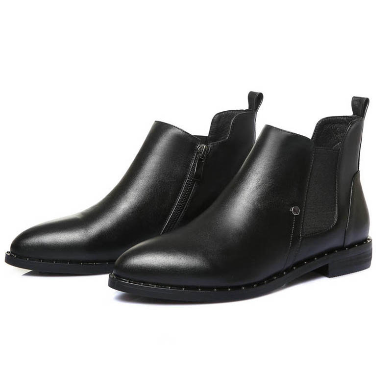 High quality genuine leather Chinese leisure style sexy pointed toe ankle boots rivet elastic low heel black womne riding boots 4 colors round toe charm high heel genuine leather platform martin ankle boots fashion western high quality short womne boots