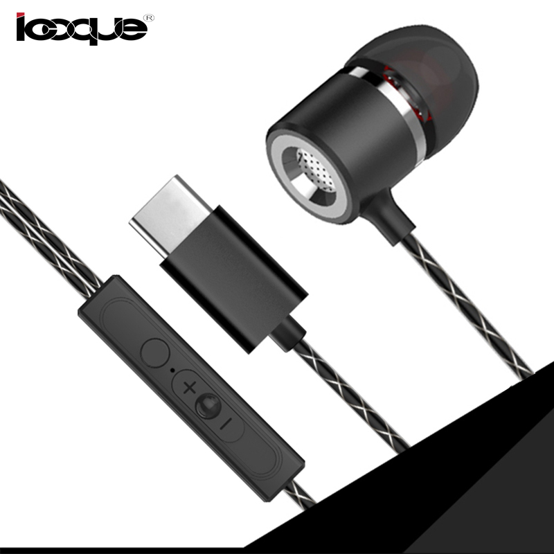 Metal Type-C Earphone Stereo Bass Hifi Wired Earbuds USB Type C Earphones with Microphone for Letv LeEco Le 2 Max Pro Headphones