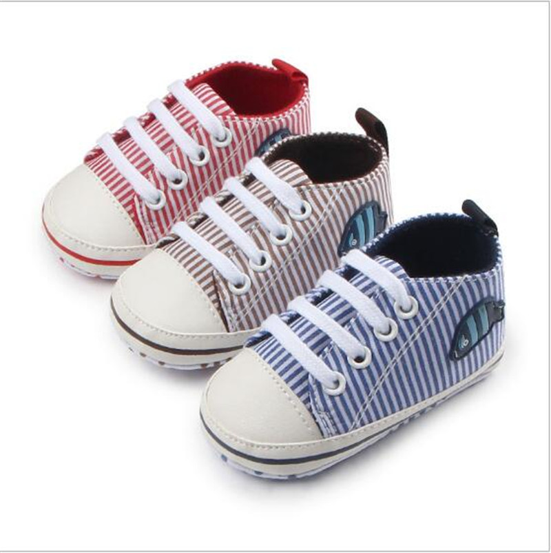 New Striped Baby Canvas Shoes Infant First Walkers Soft Sole Toddler Sport Shoes Sneakers