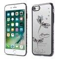 Para a apple iphone 7 kingxbar original bramd limpar hard case para iphone 7 covers-preto borda/jade libélula