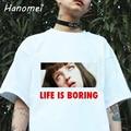 Parodia Harajuku Camisetas Mujer Camiseta Blanca 2017 Del Verano Novedad Camiseta Femme Vida es Aburrida, Cartas de Impresión Mujeres Camiseta C341