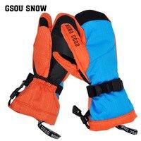 Gsou esquí de invierno guantes calientes impermeables guantes gants de esquí nieve snowboard mittens motonieve handschoenen