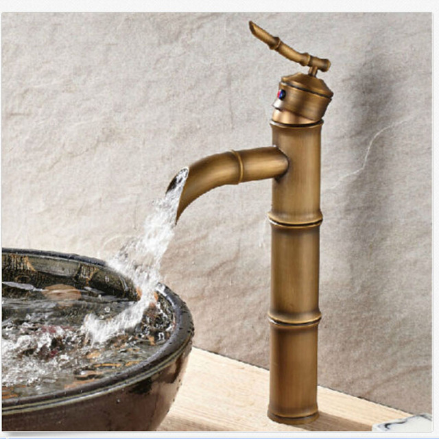 Wholesale And Retail Antique Brass Tall Bathroom Faucet Bamboo Shape ...