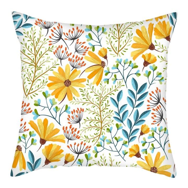 Home Audacious Cojines Yellow Flower Leaf Throw Pillow Case Sofa Car Waist Cushion Cover Home Decor Kussenhoes Housse De Coussin Pillowcases Discounts Sale