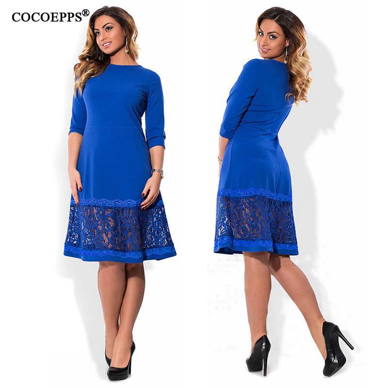 941fc27eac5 ... COCOEPPS L-6XL elegant blue women dress big sizes Autumn o-neck loose  dresses ...