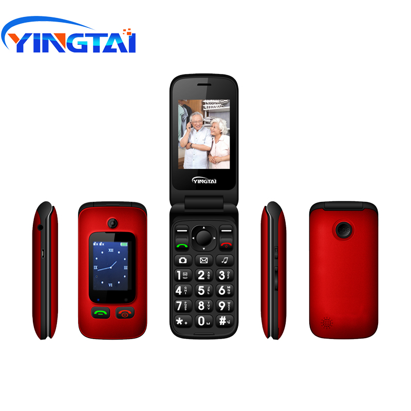 Original YINGTAI T22 3G MTK6276 GPRS MMS grand bouton poussoir téléphone senior double SIM double écran Flip téléphone mobile pour aîné 2.4 pouces
