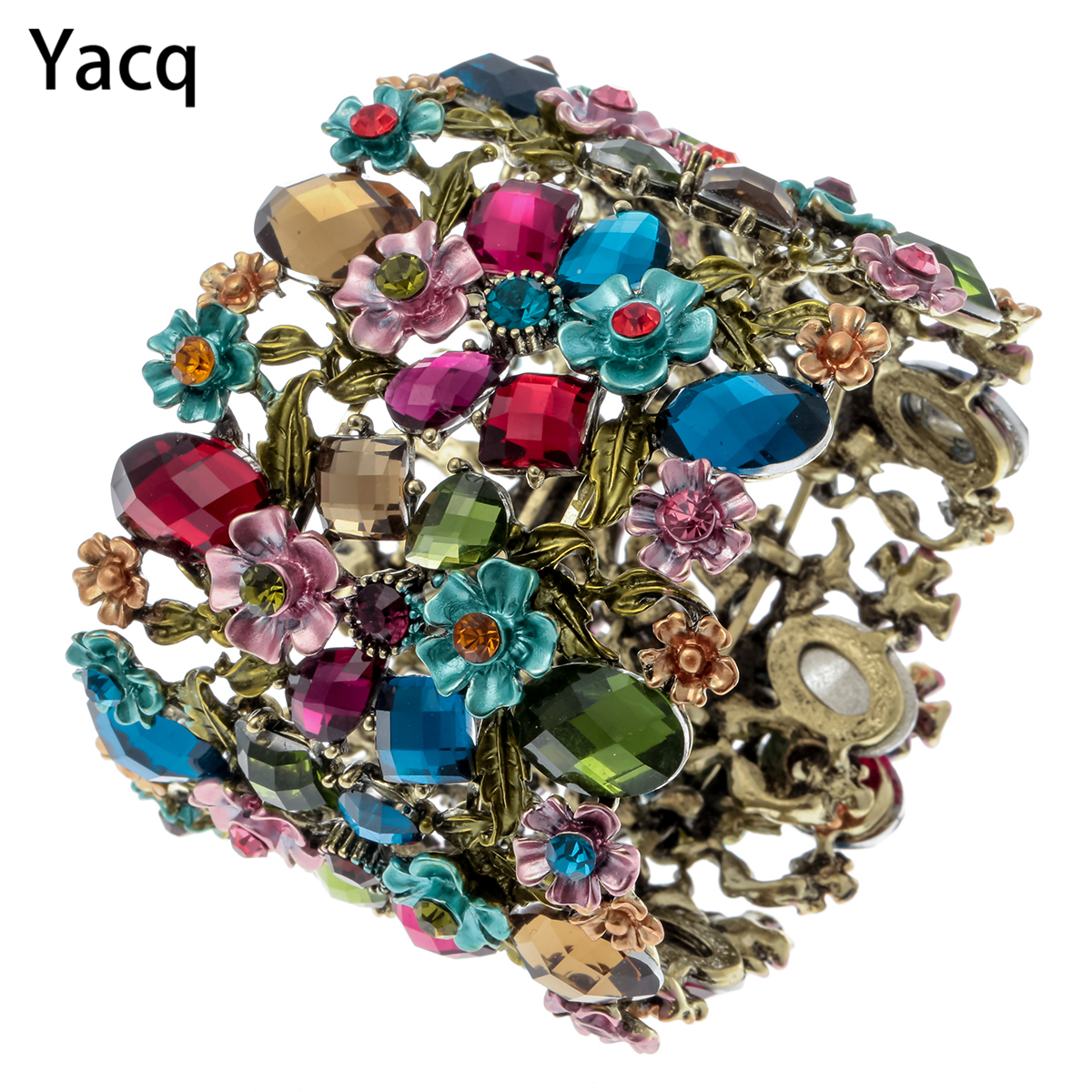 Yacq Flower Stretch Wide Bracelet Women Summer Cute Cuff Fashion Wedding Bridal Jewelry Gifts F28 Gold Silver Color Dropshipping