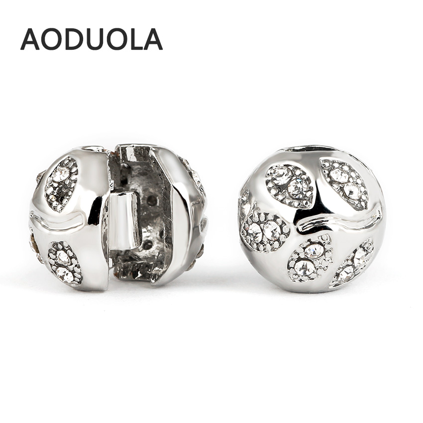 10 Pcs a Lot Alloy Beads Spot Round DIY Beads with Rhinestone Stopper Spacer Murano Bead Charm Fit For Pandora Bracelet Charms
