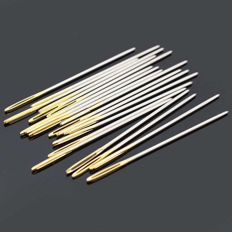 Leather Crafts Sewing Needle,Round Prism Head Blunt Pint,Pointed Sharp Tool For Embroidery Stitching Gold Tail Big Eye Needles