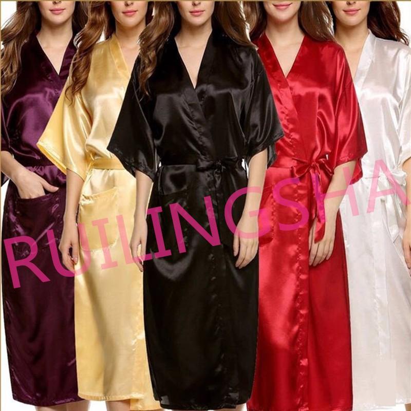 Plus Size Brand Bathrobe Women Men Kimono Silk Satin Long Robe ... bcb4e2a04