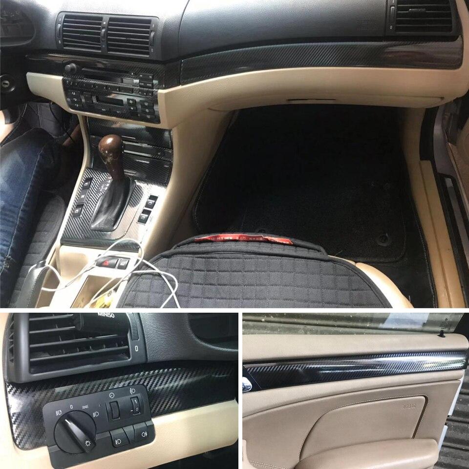For BMW 3 Series E46/ 4 Door Interior Central Control Panel Door Handle Carbon Fiber Stickers Decals Car Styling Accessorie