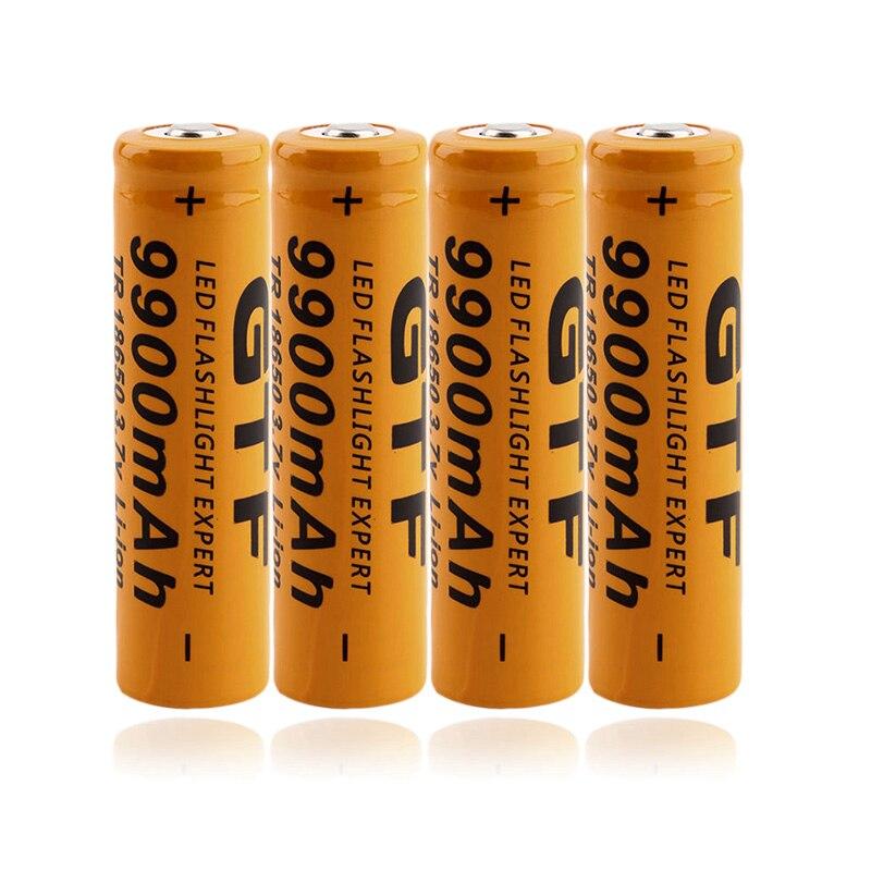 Bateria recarregável 9900 v brilhante da lanterna recarregável da bateria 18650 mah do lítio da bateria de gtf 9900 mah 3.7