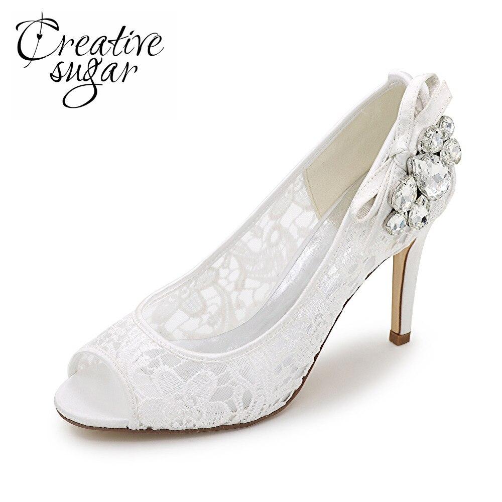 Creativesugar lace breathable mesh open peep toe woman pumps crystals wedding cocktail quinceanera dress shoes pink black white creativesugar woman elegant sweet lace