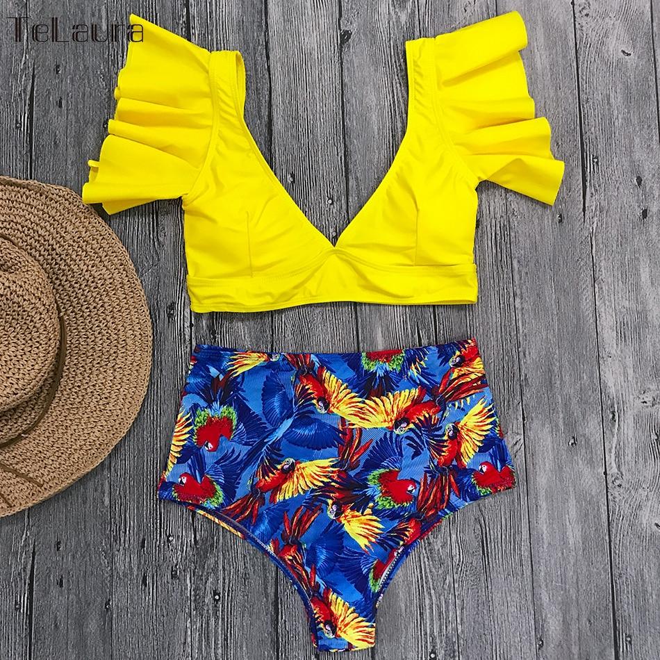 HTB16Hj6NNjaK1RjSZFAq6zdLFXaH Ruffle High Waist Bikini 2019 Swimwear Women Swimsuit Push Up Bikinis Women Biquini Print Swimsuit Female Beachwear Bathing Suit