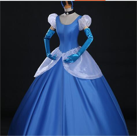 Cinderella Princess cosplay costume blue cinderella girl wedding dress adult Custom made ...