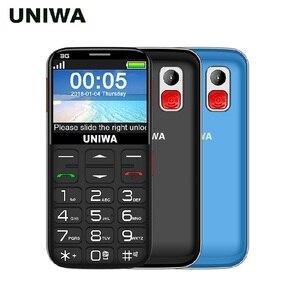Image 2 - Uniwa V808G Vecchio Uomo Del Telefono Mobile 3G Tasto di SOS 1400mAh 2.31 3D Curvo Schermo Del Cellulare Torcia Della Torcia Elettrica Delle Cellule telefono Per Gli Anziani