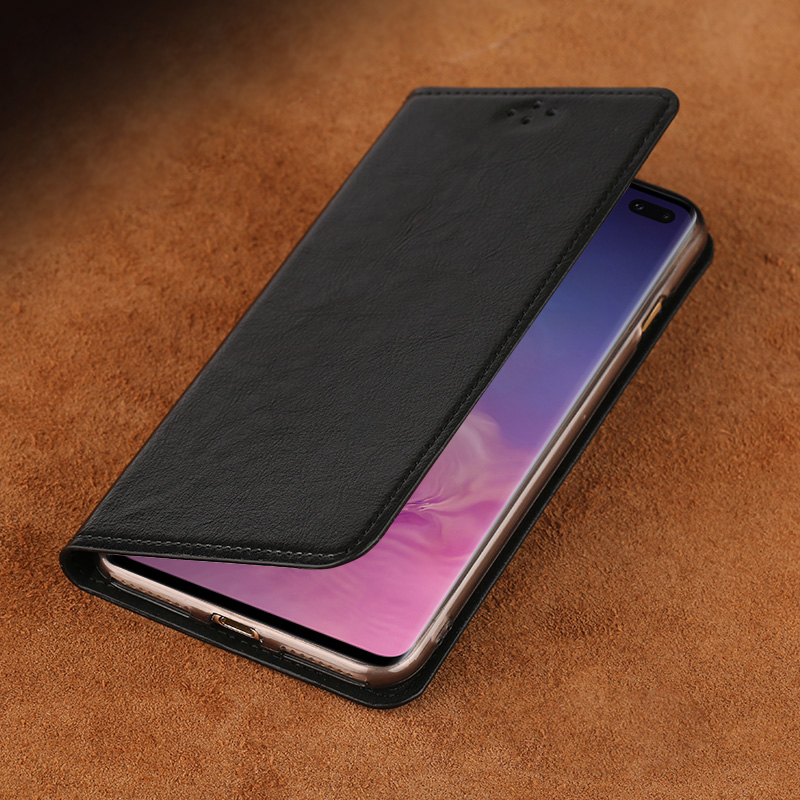 Flip Case For Samsung S6 S7 edge S8 S9 S10 Plus A20 A30 A50 A70 Oil wax Skin Cover For Note 8 9 10A5 A7 A8 2018 J5 J7 2017 case in Flip Cases from Cellphones Telecommunications