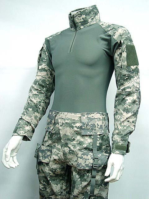 Combat Shirt&Pants Digital ACU Camo w/Elbow Knee Pad drawstring spliced camo jogger pants
