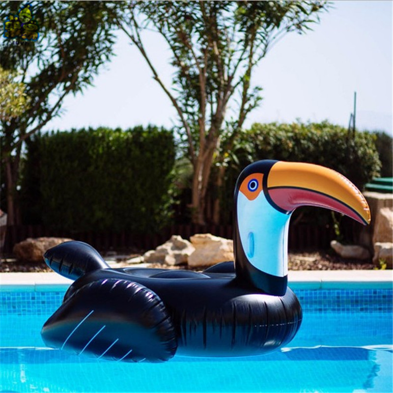 250CM Giant Black Toucan Pool Floats 2018 New Swimming Ring Adults Inflatable Woodpecker Ride-On Water Toys Air Lounger Mattress