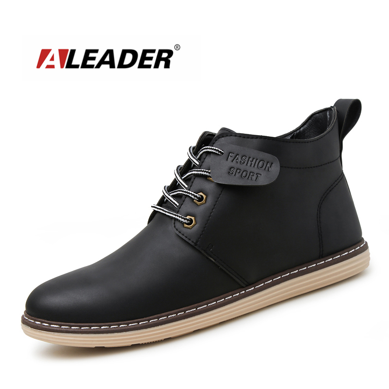 ALEADER 2017 Fashion Lace Up Ankle Boots Autumn Men Casual Shoes Black Pu Leather Boots Waterproof Mens Short Booties Comabat fall flat black waterproof 2017 women shoes retro front lace up casual ankle boots autumn patent leather chunky booties vintage