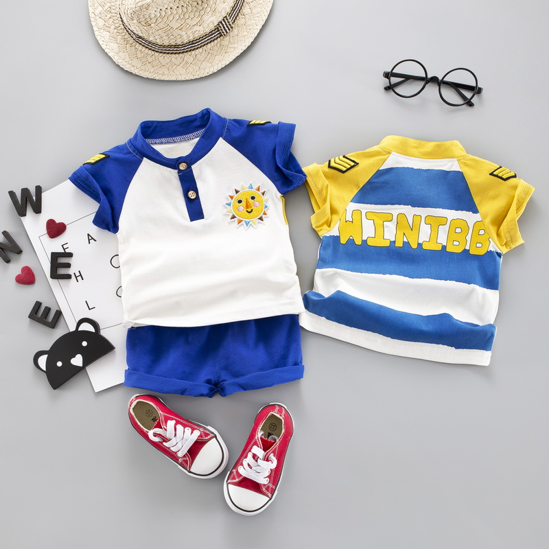 Newly 2PCS SET Summer Baby Boys Casual Short Sleeve Cotton Shirt Tops O neck Blouse T shirt Shorts Set Children Outfits Sets in Clothing Sets from Mother Kids