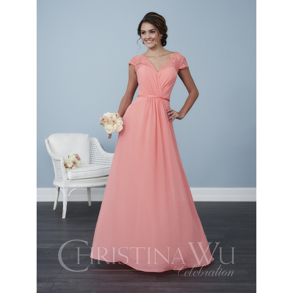 2017 Long Flowy Chiffon 22764 Bridesmaid Dresses Y Thin Satin Belt And Lace Straps Keyhole Back Party Gowns In From Weddings Events