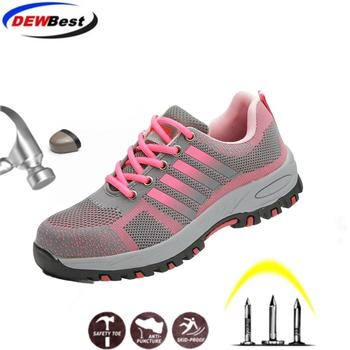 LightWeight Breathable Women Safety Work Shoes Steel Toe Outdoor Boots Mesh Anti-smashing Construstion Sneaker Female - discount item  23% OFF Workplace Safety Supplies