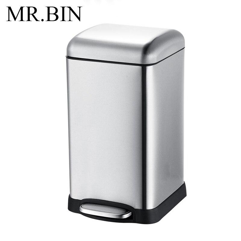 MR. BIN 12/20 Litre grande capacité poubelle avec réservoir intérieur amovible moderne 410 poubelle en acier inoxydable pour cuisine