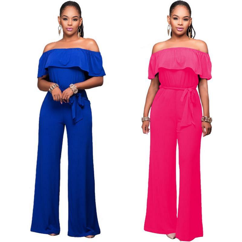 Women's Fashion Hot Sale Ruffle Belted Wide Leg Loose 2016 Winter New Trend One Piece Jumpsuits Monos Mujers Playsuits S-XL