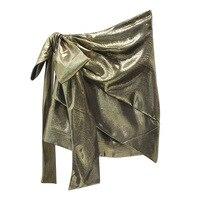 Nowa stacja Europejska duży motyl węzeł złoty brokat biust spódnica nieregularne hem super warstwową spódnicę