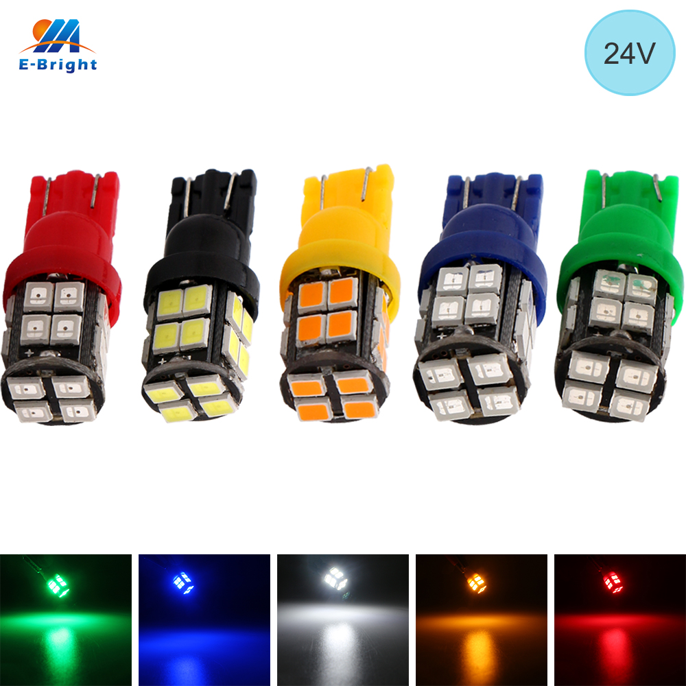 YM E-Bright 24V DC 100PCS T10 2835 <font><b>20</b></font> SMD 194 168 W5W LED <font><b>Bulbs</b></font> White Blue Red Green Amber Trunk Lights <font><b>20</b></font> LEDs 400Lm <font><b>Auto</b></font> Car image
