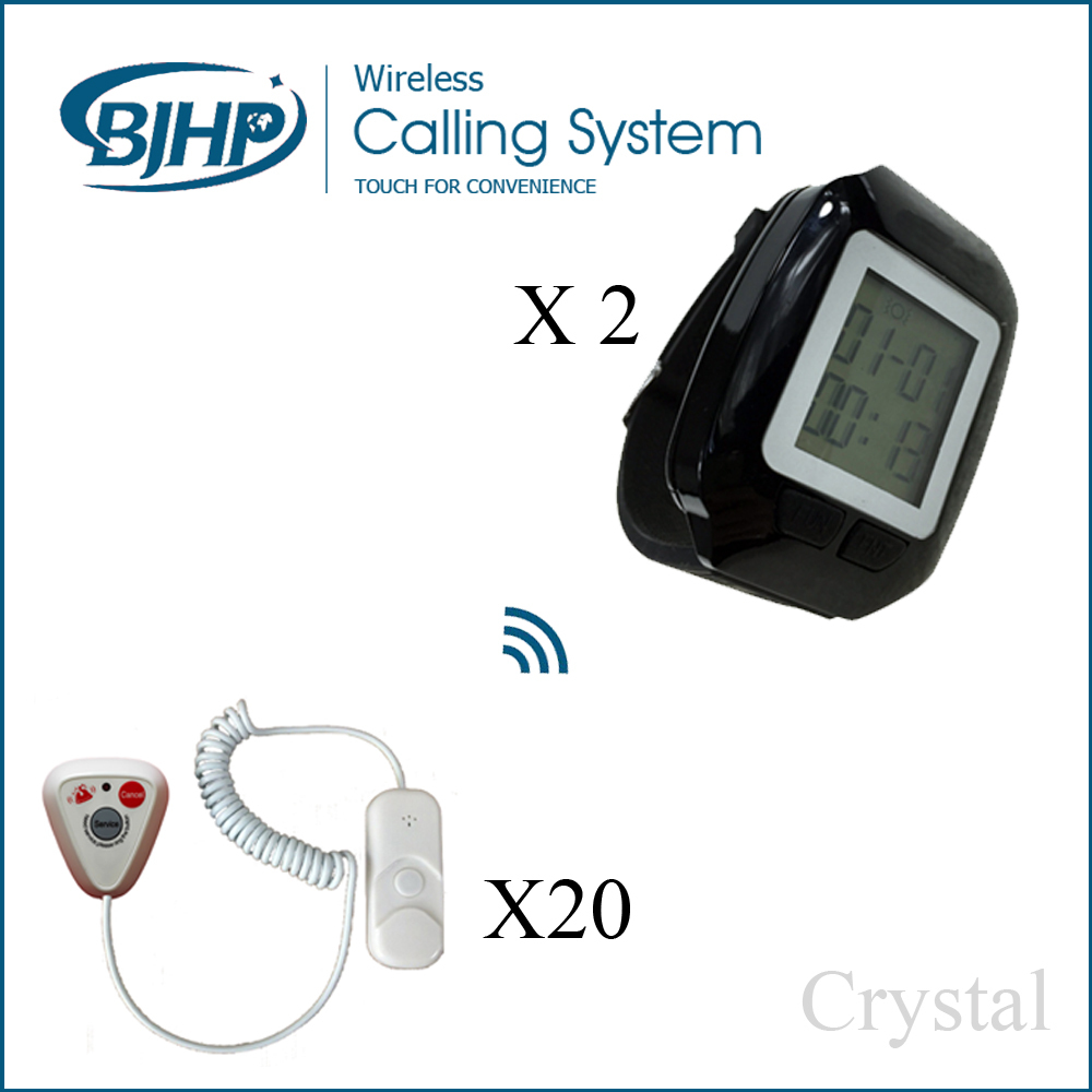 20 call button 2 wrist watch cheap price portable wireless nurse call sound and light watch pager system for hospital