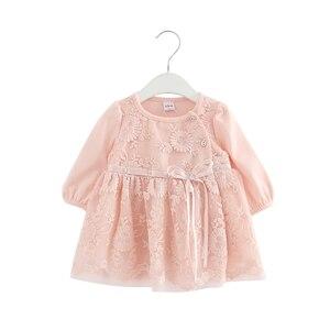 Image 1 - Koronkowy haft perły dziewczynek sukienka dziewczynka ubrania sukienki dla dzieci dzieci odzież suknia vestidos 0 2 lat 3 kolor