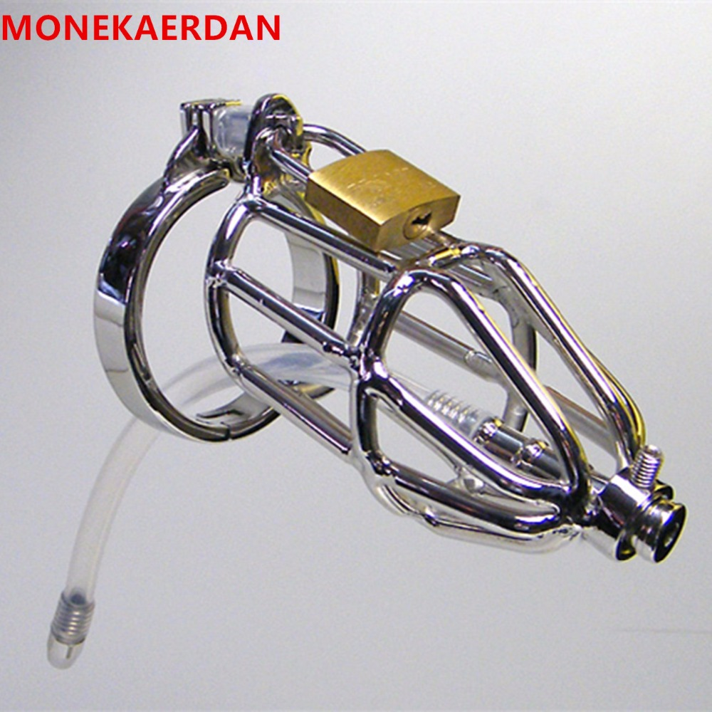 Metal Male Penis Rings Cock Cage With Silicone Catheter , Stainless Steel Chastity Device , Fetish Sex Toys For Men - AJ30I metal cockring penis cage with anti off ring stainless steel male chastity device adult sex toys cock rings for men cb6000s