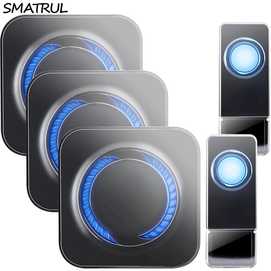 SMATRUL Waterproof Wireless Doorbell EU Plug 300M long range home Door Bell ring call chime 2