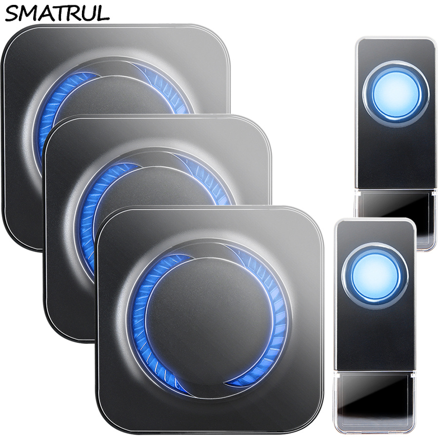 SMATRUL Waterproof Wireless Doorbell EU Plug 300M long range home Door Bell ring call chime 2 button 3 receiver 110V 220V Deaf wireless pager system 433 92mhz wireless restaurant table buzzer with monitor and watch receiver 3 display 42 call button