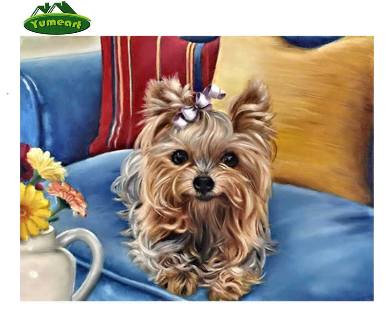 YUMEART Square Beaded Painting Cute Yorkie Doggie 5d Diamond Embroidery  Kits Cross Stitch Mosaic Sticker Diamond Painting Animal