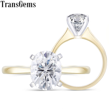 Transgems 14K White and Yellow Gold Oval Cutting 1.5ct 7X9mm F Color Moissanite Solitaire Engagement Ring for Women Wedding