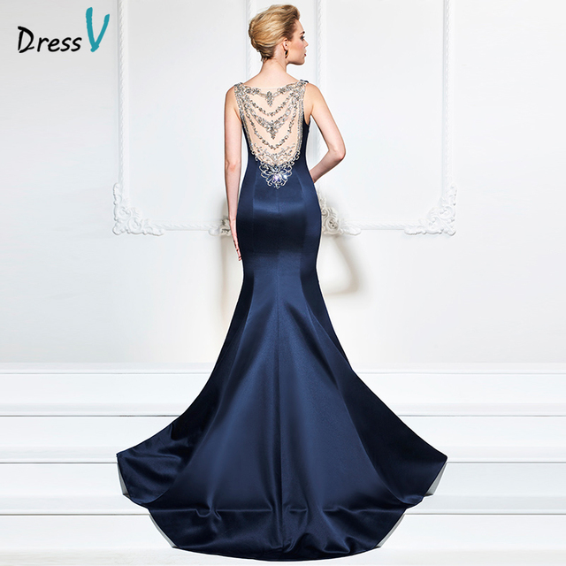Dressv dark navy 2017 evening dress sexy sleeves mermaid sweep train  beading wedding party formal dress trumpet evening dresses 3baf927ab