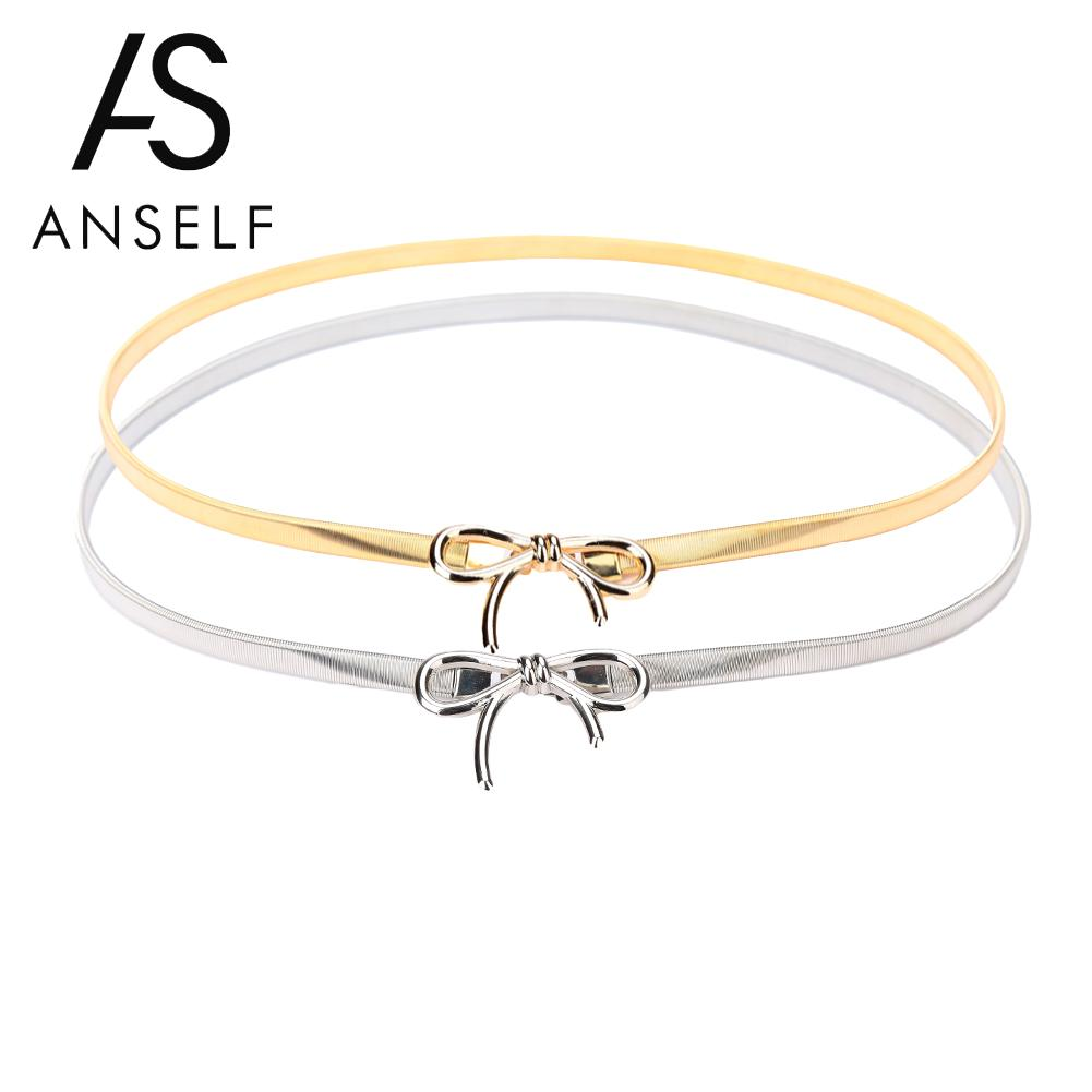 Anself Gold/Silver   Belts   for Women Fashion Women Metal   Belt   Bow Clasp Front Stretch Spring Waist Strap Skinny Elastic Waistband