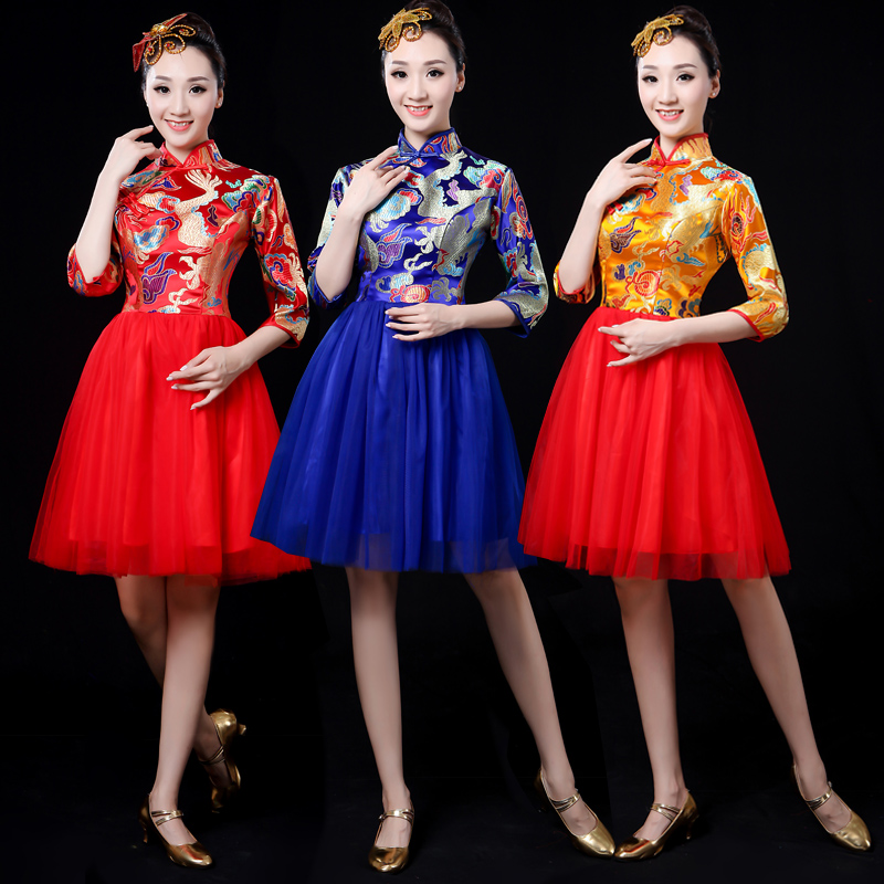 Modern dance clothes chorus costumes Puff skirt square dance opening dance clothing 2018 new adult female